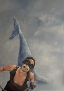 Biker with Whalesculpture, 140x100 (Öl auf Leinwand)