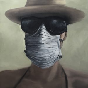 Burning Man #Selfportrait, 110x110cm (Öl auf Leinwand)