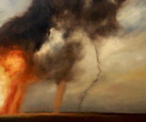 Wüstenfeuer #1, 120x120cm (Öl auf Leinwand)