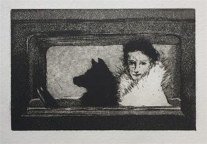 Frau mit Hund (10x15cm)