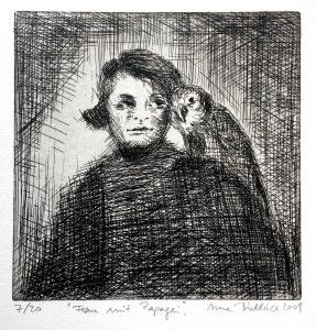 Frau mit Papagei (15x15cm)