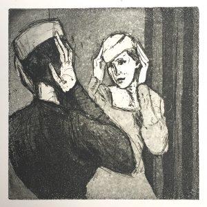 Frau vorm Spiegel (15x15cm)