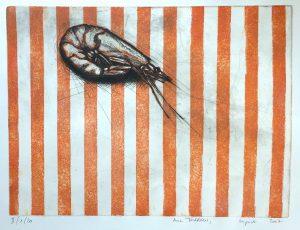 Garnele auf Streifenbett (30x40cm)