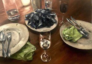 Muschelessen mit Anna, 50x70cm (Öl auf Leinwand), 2020