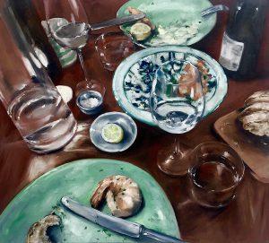 Dinner for one, 90x100cm (Öl auf Leinwand), 2020