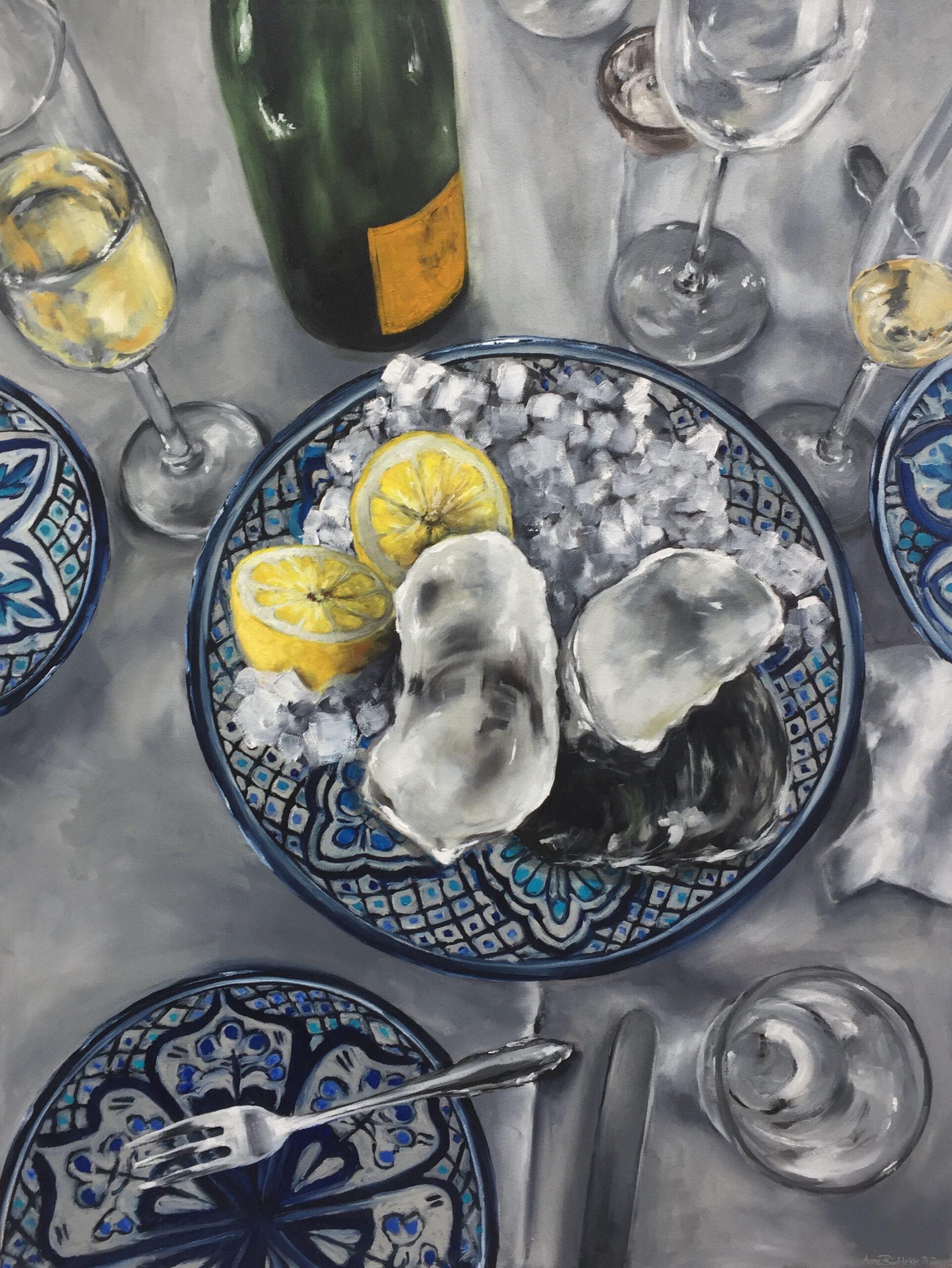 Austern&Champagner, 120x90cm, 2020