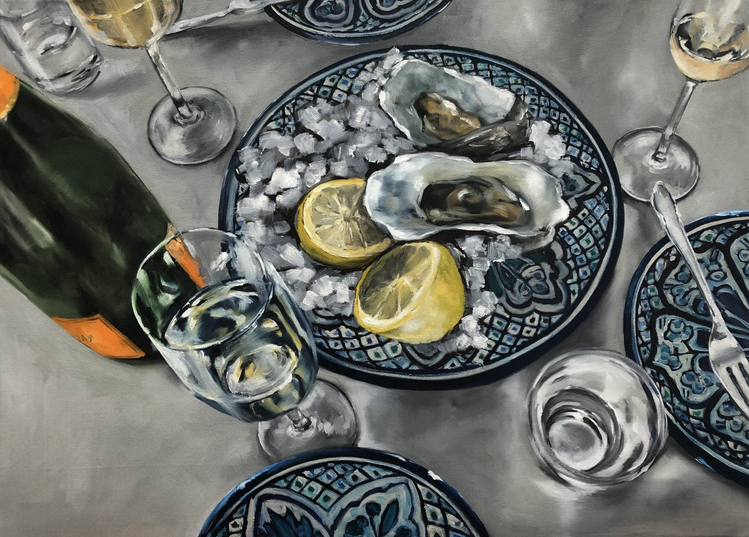 Austern&Champagner #4, 80x110cm