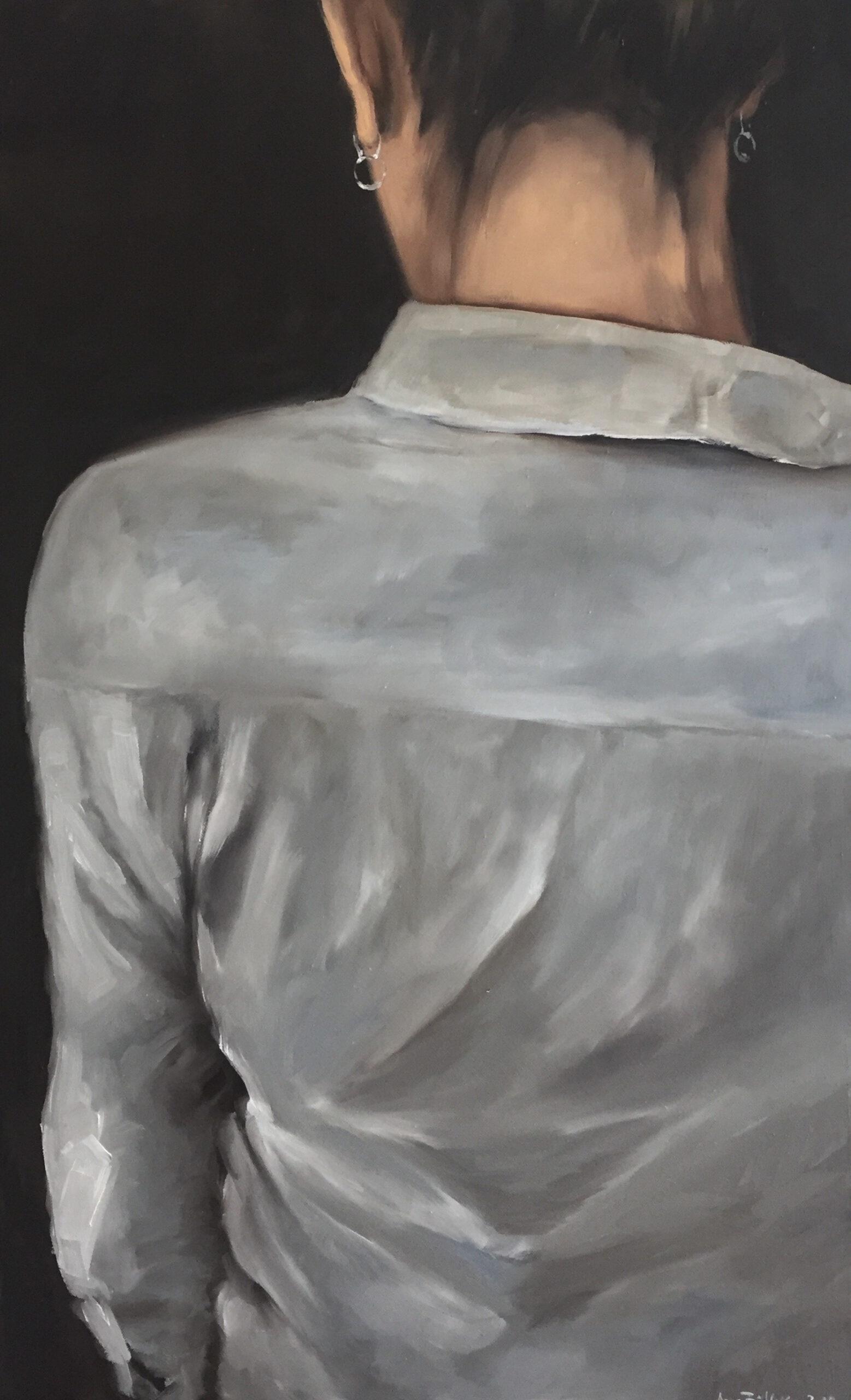 Die weiße Bluse, 80x50cm, Öl auf Leinwand