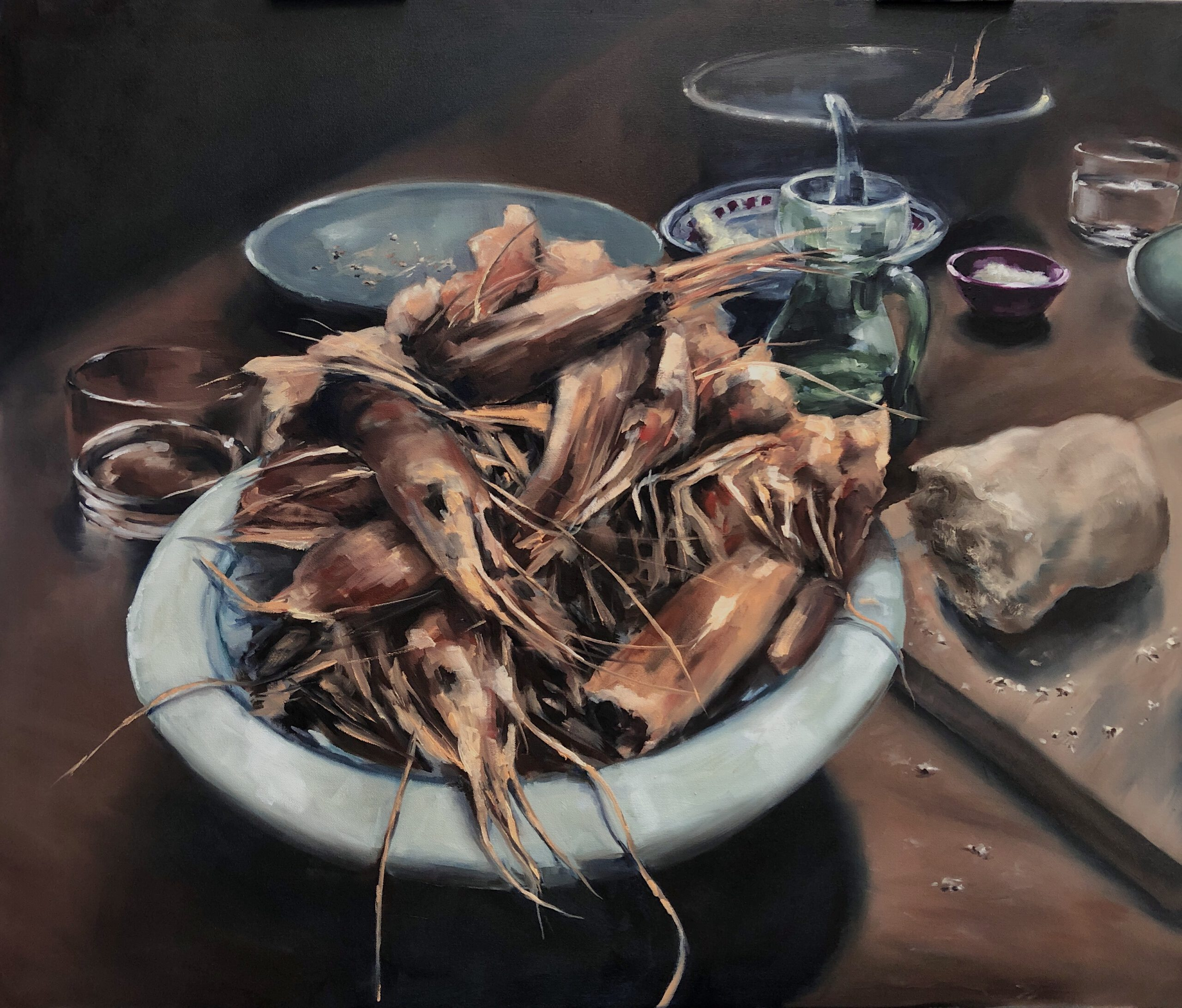 'Dinner for one', Fingerfood, 110x130cm, Öl auf Leinwand