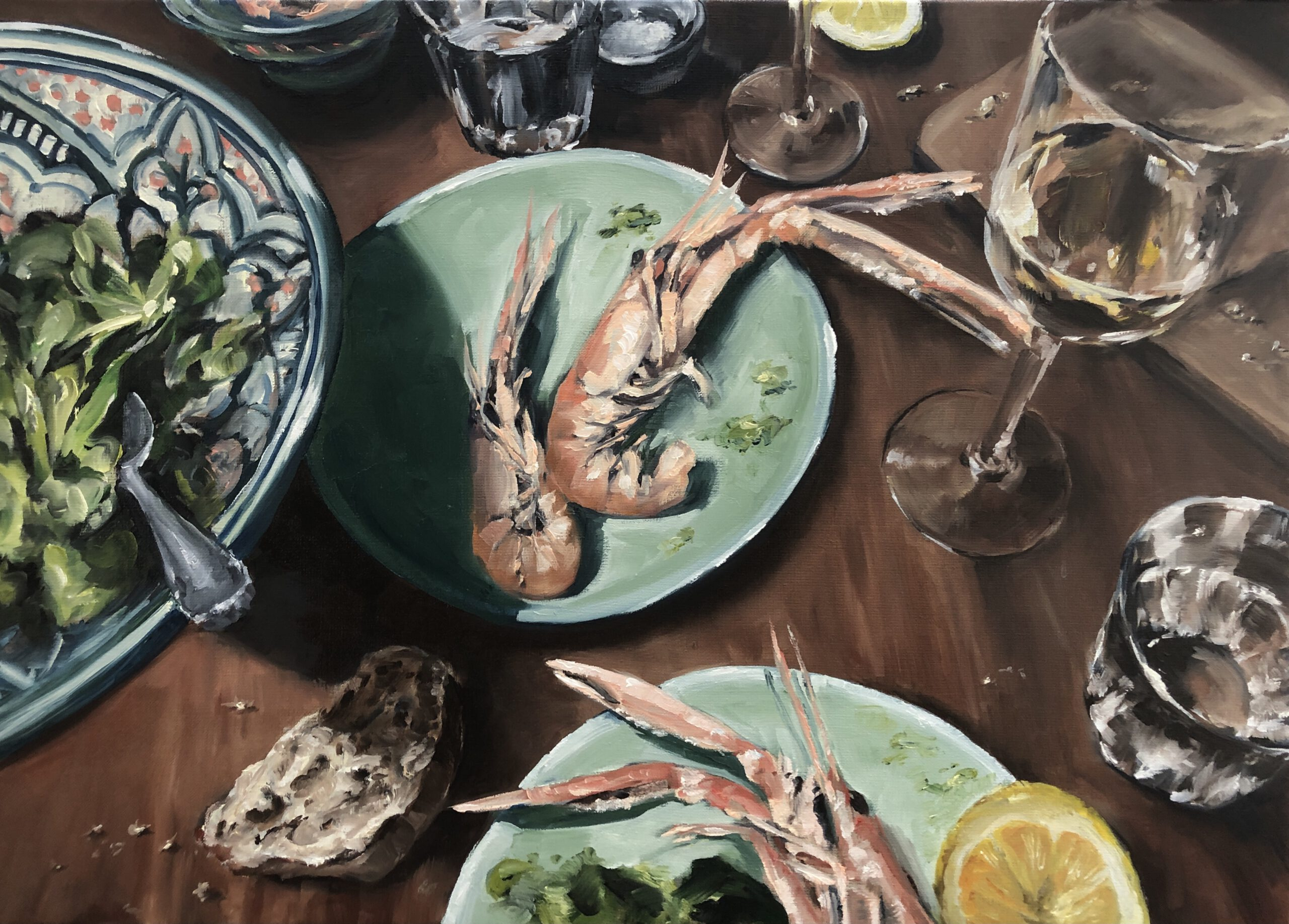 'Dinner for one', Norwegian lobster & wine, 50x70cm, Öl auf Leinwand