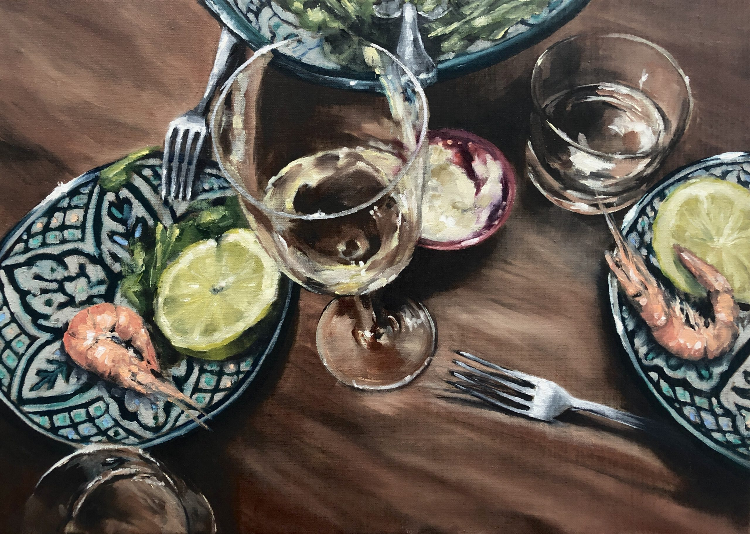 Garnelen&Wein, 50x70cm, Öl auf Leinwand